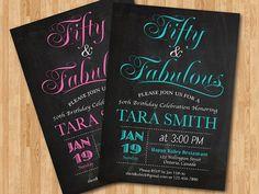 50th birthday invitation women. Elegant. Chalkboard. by arthomer, $10.00
