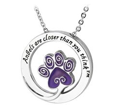 Angels Are Closer Than You Think™ Purple Paw Necklace - At no extra cost, your purchase funds 14 bowls of food to sheltered animals.
