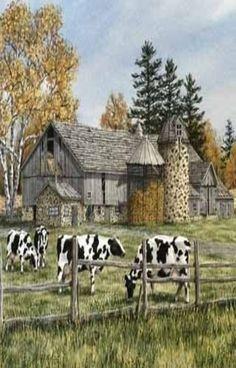 Barn & Cows...Painting -  Sonya Terpening (1954, American)