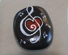 Handbemalter Stein Notenschlüssel von StoneArt2015 auf Etsy