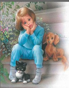 """From: """"Martine va déménager"""" (""""Martine is moving"""") by Marcel Marlier Marcel, Dachshund, Photo Images, Marianne, Chica Anime Manga, Dogs And Kids, Children's Book Illustration, Vintage Children, Vintage Images"""