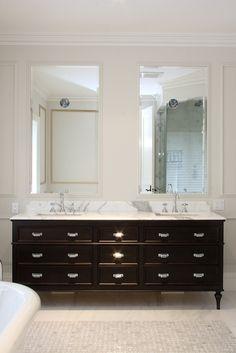 Black Double Vanity - Contemporary - bathroom - Designer Friend    Pulls!