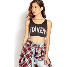 Forever 21 Hashtag Taken Crop Top ($6.99) ❤ liked on Polyvore featuring tops, outfits, models, full outfits, graphic tops, women plus size tops, sleeveless crop top, scoop neck crop top and womens plus tops