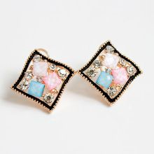 E424 New Arrival 2016 Multicolor Acrylic Crystal with Black Gold Plated Screw-back Rhombic Stud Earrings(China (Mainland))