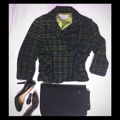 Kay Unger Black and Green Tweed Jacket Size 2 Kay Unger tweed jacket is black with white, green and citrus green/yellow pattern. The edges and detailing is a tulle trim ruffle and non functional front pockets. The beautiful jeweled buttons on front are fabulous but missing a few of the stones which you can see in the picture but are barely noticeable. Fully lined in a green. Made of 92% acrylic, 3% cotton, 3% rayon and 2% wool, dry clean only. Kay Unger Jackets & Coats Blazers