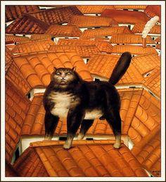 Chat sur un toit 1978 Huile sur toile 87 x 77