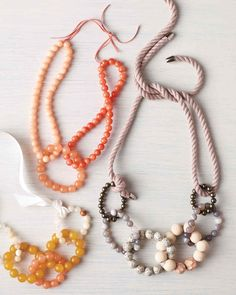Keep yourself in the loop style-wise with these easy beaded necklaces, inspired by the new book Make a Statement, by Martha Stewart Weddings associate style editor Katie Covington. Simply link together beaded loops, then finish with pretty cord or ribbon ties. A handmade piece can be a gift that Mom will treasure long after Mother's Day (and that you might just be tempted to keep for yourself!).