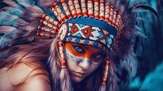 Девушка индеец, шаман, лицо,