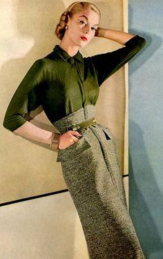 Jean Patchett wearing Nelly Don 1954