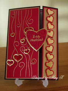 Hubby Valentine card made using Glitter Girls boards (Swirls, Borderfold and Celebration).