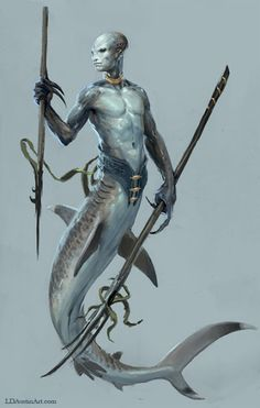 Solomon Islands: The Adaro were malevolent merman-like sea spirits found in the mythology of the Solomon Islands. Said to arise from the wicked part of a person's spirit, an adaro is described as a man with gills behind his ears, tail fins for feet, a horn like a shark's dorsal fin, and a swordfish or sawfish-like spear growing out of his head.