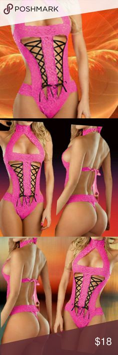 """Racy Hot Pink & Black?Teddy One Piece Racy Hot Pink & Black Teddy (One Piece)NWT   Racy Hot Pink & Black Teddy (One Piece) Make it a night for two in this one piece teddy. It is sure to be one amorous night when you wear this sexy lingerie. .  Material: Lace  Size: One Size Fits Small to Medium  Length: 27.5""""  Color: Hot Pink & Black  1 Teddy/G-String Set  Hand Wash Only  . 13O . Intimates & Sleepwear"""