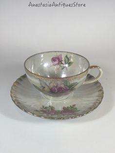 Vintage Iridescent Floral Tea Cup and Saucer Gilt.