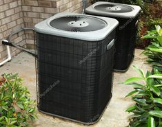 Residential Cental Air Conditioning Unit Stock Photo