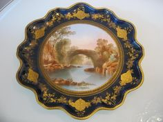 """STUNNING VICTORIAN HANDPAINTED AYNSLEY PORCELAIN CABINET PLATE """"THE DARGLE"""" 
