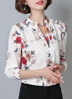 The shirt is featuring stand collar, long sleeve, floral printed and slim. Trendy Outfits, Fashion Outfits, Sewing Blouses, Professional Wardrobe, Anarkali Dress, Blouse Dress, Blouse Styles, Printed Blouse, Printed Shirts