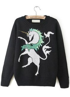 Fast Shipping Black Long Sleeve Horse Pattern Sequined Sweater   Fashion4you - Clothing on ArtFire