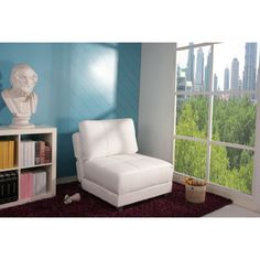 @Overstock.com - New York White Convertible Chair Bed - This white leatherette convertible chair bed is a smart option for small spaces. Unfold the chair in seconds for a comfortable place for guests to sleep. The headrest and backrest can be adjusted, making this comfortable chair customizable.  http://www.overstock.com/Home-Garden/New-York-White-Convertible-Chair-Bed/6778345/product.html?CID=214117 $392.99