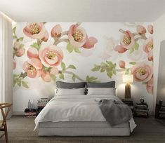 3d Wallpaper Flower, Wall Wallpaper, Flower Painting Canvas, Pictures To Paint, Wall Prints, Wall Murals, Pink Flowers, Beauty, Home Decor