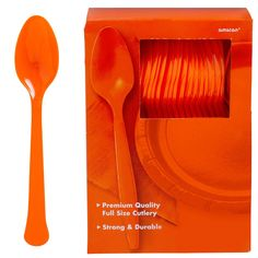 Big Party Pack Orange Premium Plastic Spoons 20ct | Party City