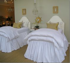 twin beds...bed skirt and fluffy duvets