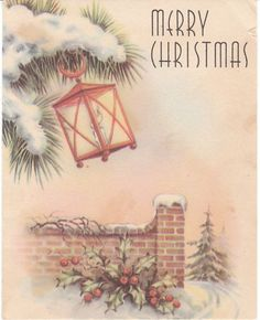 Lovely Whitman Christmas card - lantern and snowy branch