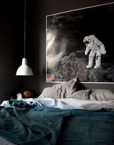 Astronaut Space Photography In Moody Bedroom / black walls Cozy Bedroom, Bedroom Decor, Bedroom Ideas, Pine Bedroom, Bedroom Lamps, Bedroom Office, Bedroom Colors, Bedroom Furniture, Best Paint Colors