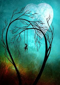 Swinging in front of heart shaped moon.