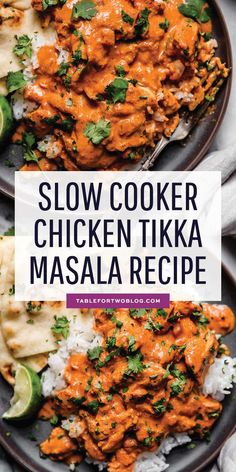 This slow cooker chicken tikka masala is a classic Indian dish that you can make in the slow cooker so it's waiting for you when you get home! and Drink slow cooker Slow Cooker Chicken Tikka Masala - Chicken Tikka Masala Recipe Poulet Tikka Masala, Pollo Tikka, Slow Cooker Tikka Masala, Slow Cooker Thai Curry, Easy Chicken Tikka Masala, Chicken Tikka Marsala Recipe, Slow Cooked Curry Chicken, Tandoori Chicken Tikka Recipe, Slow Cooking