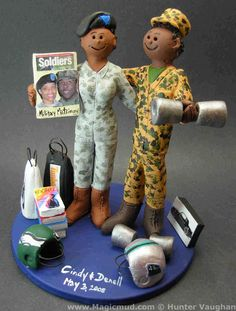 African American Military Wedding Cake Topper What a patriotic couple these two are, both serving proudly under the united states military....and they are wearing their camouflage outfits! They are also avid football fans, and have their favourite team helmets at their feet...$235#army#military#soldier#african_american#shopping#camoflage#wedding #cake #toppers  #custom #personalized #Groom #bride #anniversary #birthday#wedding_cake_toppers#cake_toppers#figurine#gift
