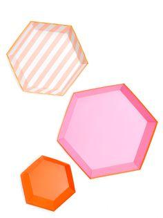 Hexagon Paper Serving Platter Set