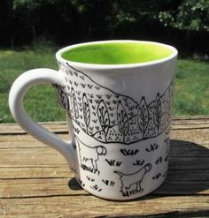 Hand painted Ceramic Mug black and white outline by lavenderhollow, $12.00  What's better than goats and the mountains piping a great cup of tea or offer?