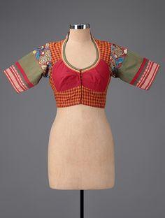 Buy Red Green Orange Hand painted Kalamkari Cotton Blouse Women Blouses Online at Jaypore.com