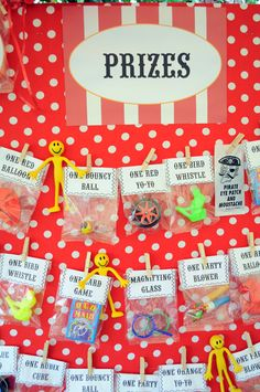 Cute way to place the prizes for the picking. Could also make the bags a surprise - grab-bag type give-away!