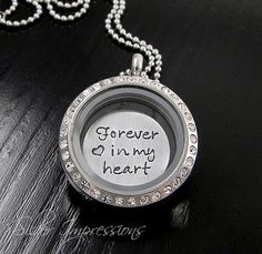 Medium Floating Locket / Forever in my heart / Personalized Hand Stamped Jewelry by Silver Impressions