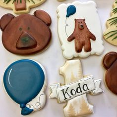 Bear First Birthday Decorated Sugar Cookies First Birthday Cookies, Zoo Birthday, Thirty Birthday, Baby Birthday Cakes, Sugar Cookie Royal Icing, Bear Cookies, Yummy Cookies, Memorable Gifts, Cookie Decorating