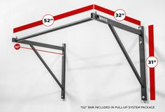 Standalone pullup bar w/ dimensions in pic.   Rogue P-4 Pull-Up System - Single-Unit - Brackets