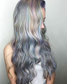 Pearl pastel silver hair.