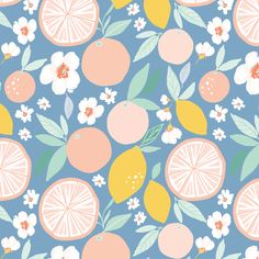 Indy bloom design Grapefruit Lemon B custom fabric by indybloomdesign for sale on Spoonflower