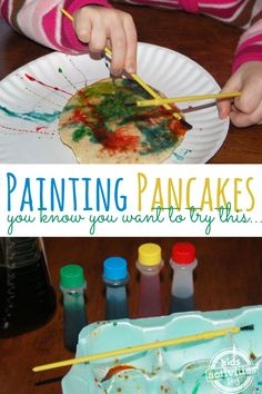 A really fun breakfast activity for kids - painting pancakes! Infant Activities, Activities For Kids, Crafts For Kids, Pancake Day Crafts, Shrove Tuesday Activities, Cooking With Kids Easy, Cooking Kids, Pancake Party, Picky Eaters Kids