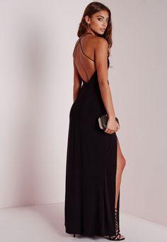 Petite Slinky Side Split Maxi Dress Black - Petite - Petite Dresses - Missguided