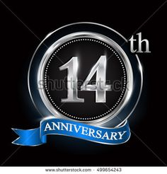 Celebrating 14th anniversary logo. with silver ring and blue ribbon.