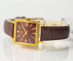 Square lady's watch Ray gold plated women's watch by SovietEra