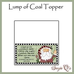 Lump of Coal Topper Digital Printable Gag Gift by SuzieQsCrafts