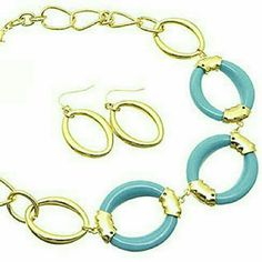 """Bold turquoise & gold link necklace set NWT Gorgeous gold tone link necklace with turquoise accent links. 14"""" long + extender. Matching pierced hook dangle earrings 1-1/4"""" long. Brand new with tag. Jill Marie Boutique Jewelry Necklaces"""