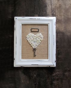 A Key to My Heart Framed Button Heart With Vintage by cattales