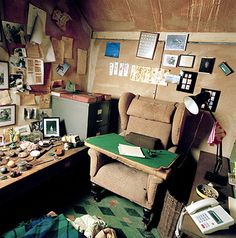 The interior of Roald Dalh's shed where he did his writing has been left untouched since his death from leukaemia in 1990. Credit: Eamonn McCabe