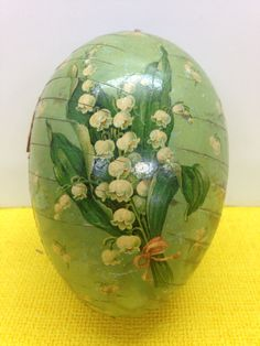 """Antique Paper Mache Easter Egg Candy Container Lilly Of the Valley 5 3/4"""""""