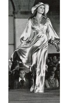 Vogue Italia, 1973 vintage fashion retro 70s does 30s style long silk gown full sleeves bias cut skirt dress evening