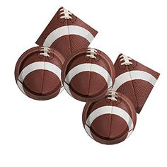 Football plates and napkins, and lots of other easy, last-minute football party decor ideas for your Super Bowl, game day, or football-themed birthday party. Click or visit FabEveryday.com for all the ideas, purchase links, and DIY tips, and don't forget to pin this one for later!